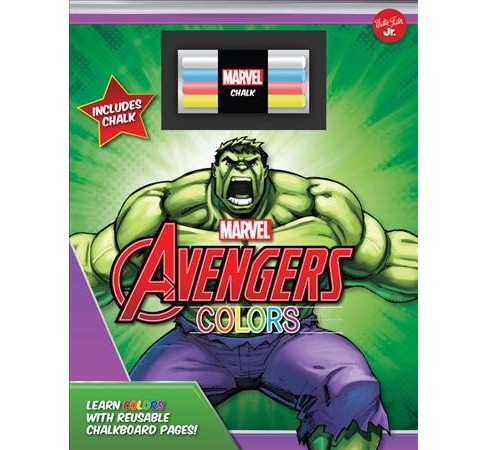 Marvel's Avengers Chalkboard Colors : Learn Colors With Reusable Chalkboard Pages! (Hardcover) - image 1 of 1