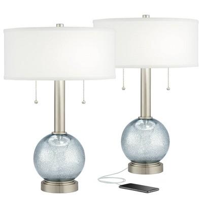 Possini Euro Design Modern Crackled Glass USB Table Lamps Set of 2