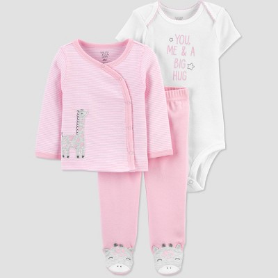Baby Girls' 3pc Cardigan Layette Set - Just One You® made by carter's Pink Newborn