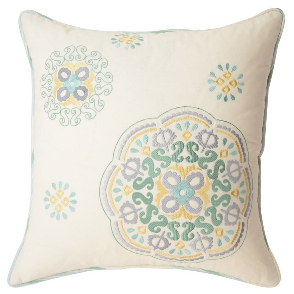 Ivory Medallion Astrid Square Embroidered Throw Pillow - Waverly