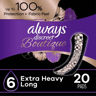 Always Discreet Boutique Incontinence and Postpartum Incontinence Pads - Extra Heavy Absorbency - Long Length - 20ct