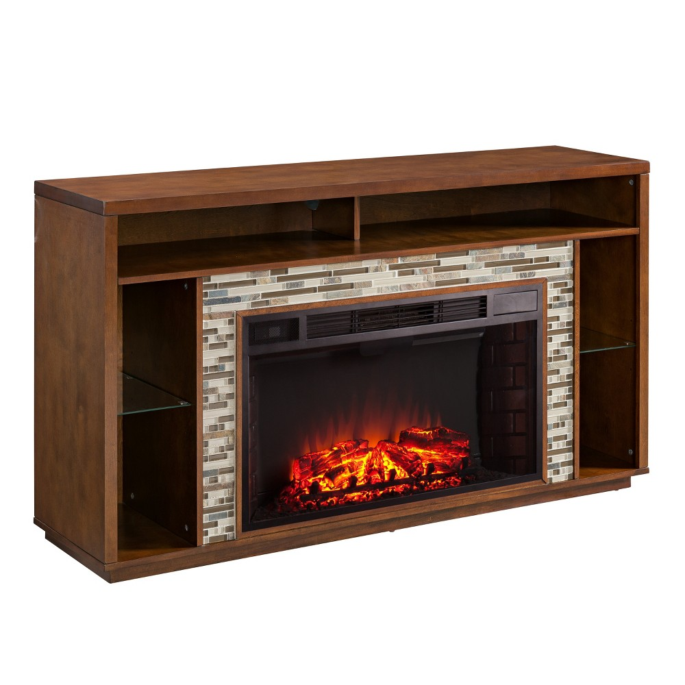 Calsworth Glass Tiled Media Fireplace Maple (Brown) - Aiden Lane