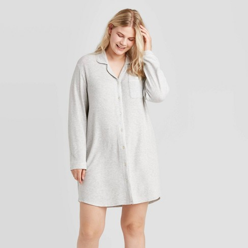 Women's Plus Size Perfectly Cozy Long Sleeve Notch Collar Nightgown - Stars Above™ Gray - image 1 of 2