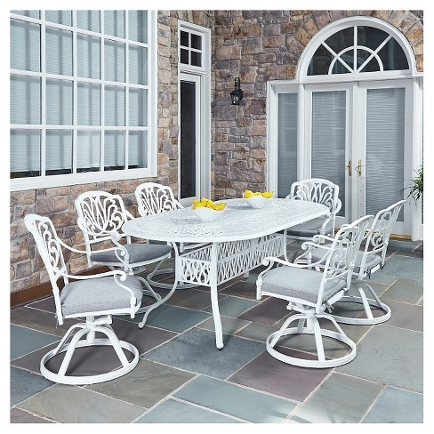 Home Styles Floral Blossom 7 Piece Patio Dining Set - White - image 1 of 1