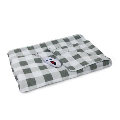 "62"" x 50"" Microplush Electric Throw Blanket Gray & White Buffalo Check - Biddeford Blankets"