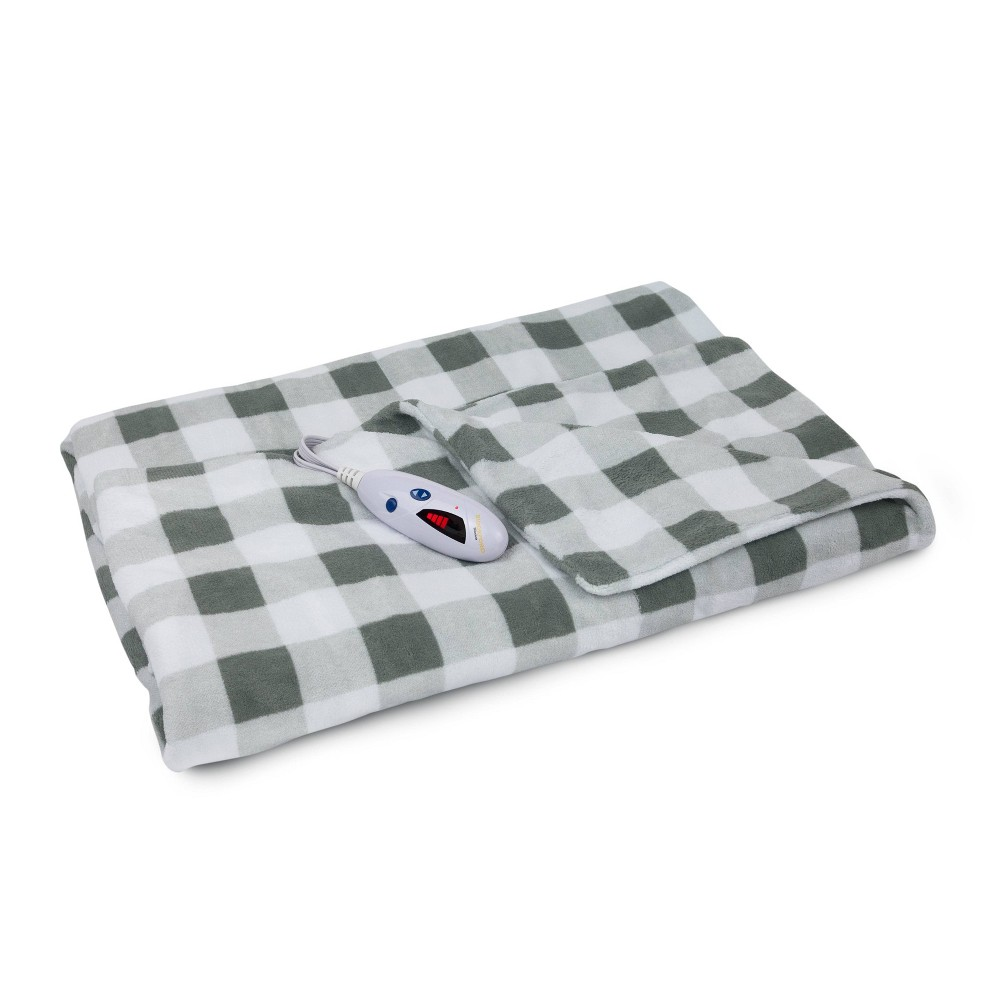 "Image of ""62"""" x 50"""" Microplush Electric Throw Blanket Gray & White Buffalo Check - Biddeford Blankets"""