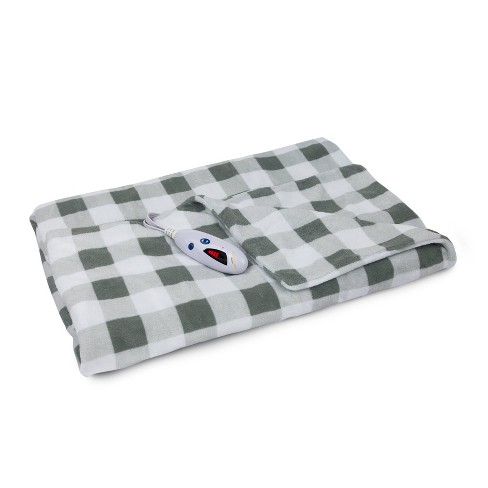 62 X 50 Microplush Electric Throw Blanket Gray White Buffalo Check Biddeford Blankets Target