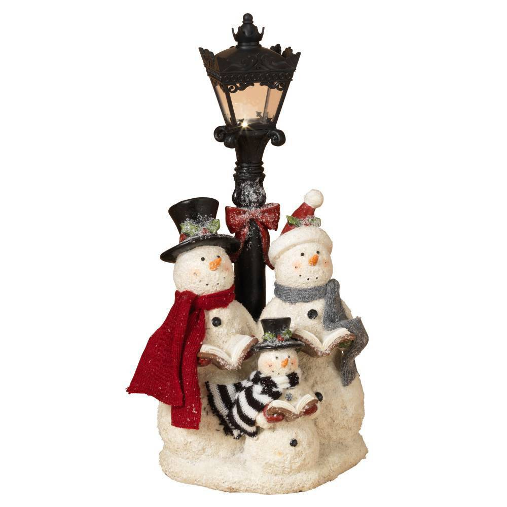 "Image of ""16.9"""" Lit Snowman Carolers Decorative Figurine - Gerson International"""