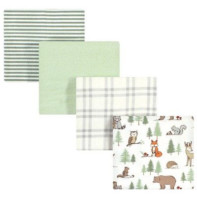 Hudson Baby Infant Boy Cotton Flannel Receiving Blankets, Forest Animals, One Size