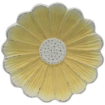 Rustic Metal Flower Decorative Storage Trinket Tray - Foreside Home & Garden