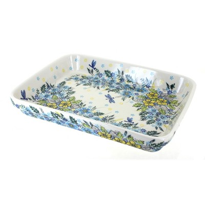 Blue Rose Polish Pottery Alyssa Large Rectangular Baker