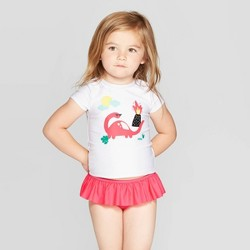 Toddler Girls' Short Sleeve Rash Guard Set - Cat & Jack™ White