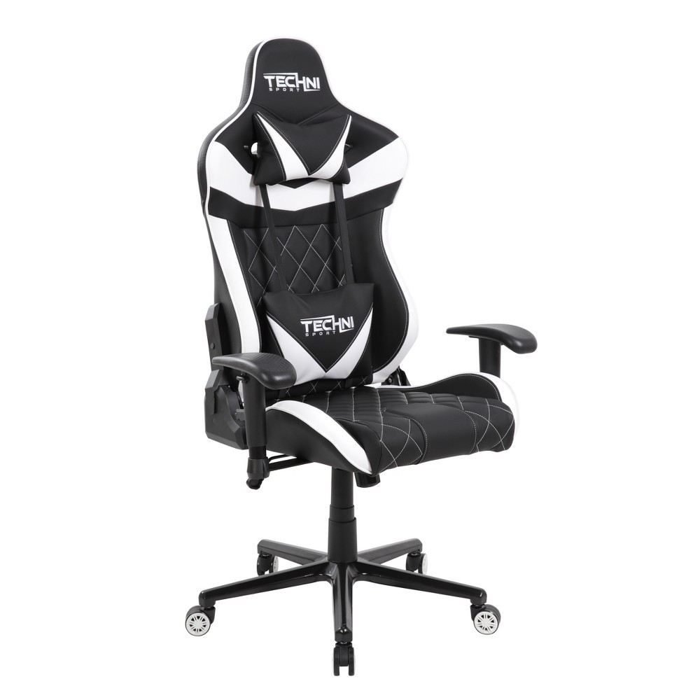 Image of Ergonomic High Back Racer Style Video Gaming Chair White - Techni Sport