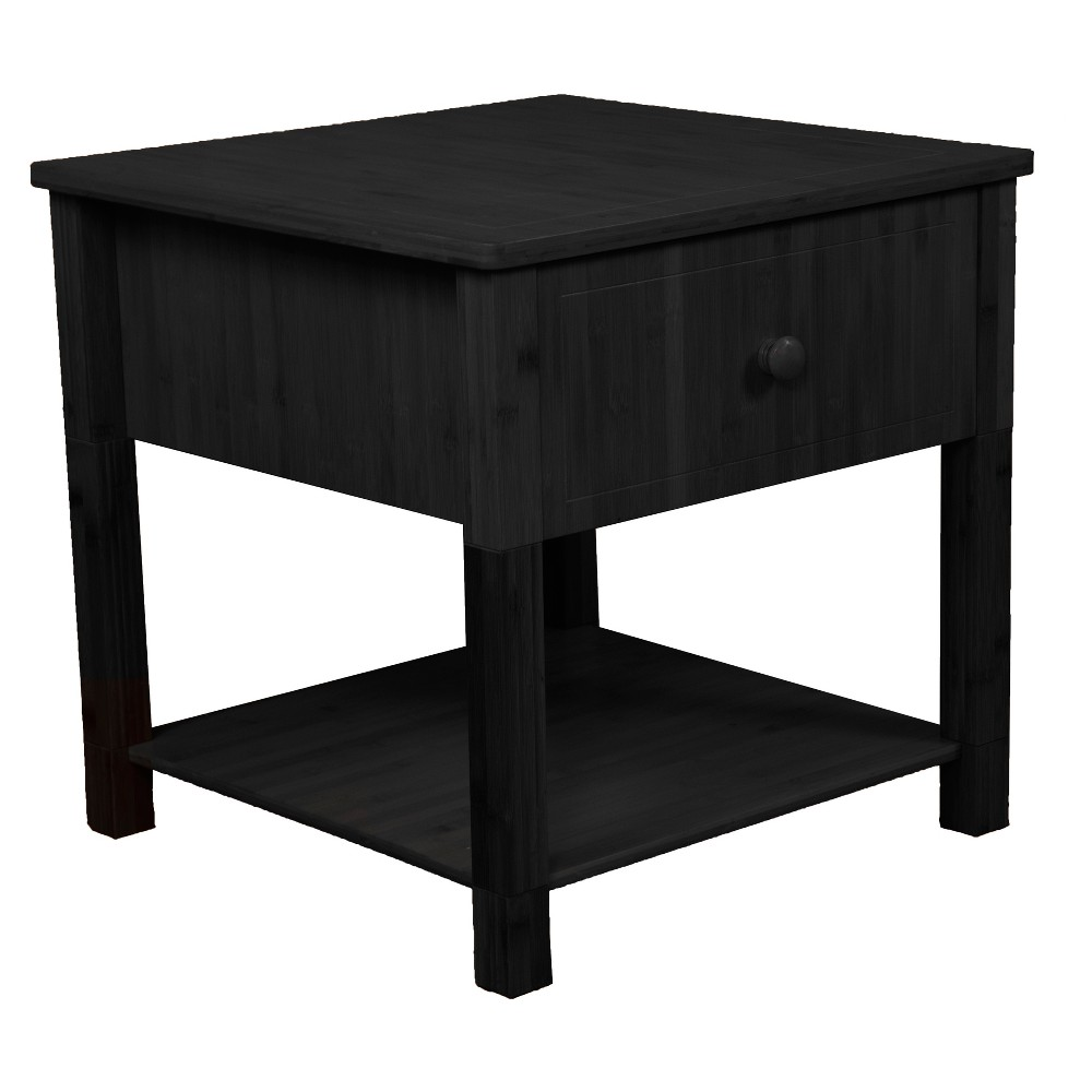 22 Gibraltar Solid Bamboo Wood Square Nightstand - Epic Furnishings, Black