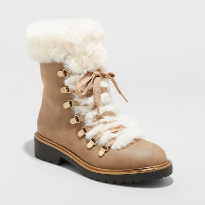 Women's Neveah Faux Fur Lace Up Boots - A New Day™ Taupe 8.5