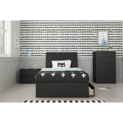 4pc Twin Epik Bedroom Set Black - Nexera