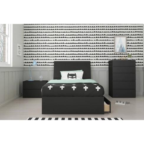 4pc Epik Twin Bedroom Set Black - Nexera