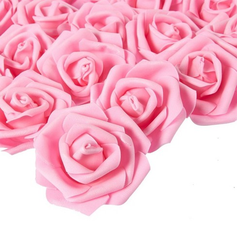 Juvale Rose Flower Heads - 100-Pack Artificial Roses, Perfect Wedding Decorations, Baby Showers, Crafts - Pink, 3 x 1.25 x 3 inches - image 1 of 3
