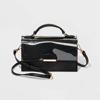Top Handle Satchel Handbag - A New Day™ Black