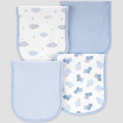 Baby Boys' 4pk Burp Cloth - Just One You® made by carter's Blue One Size
