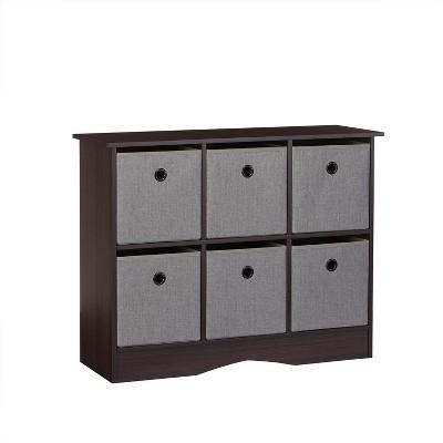 RiverRidge 6-Cubby Storage Cabinet with Bins-Espresso/Gray