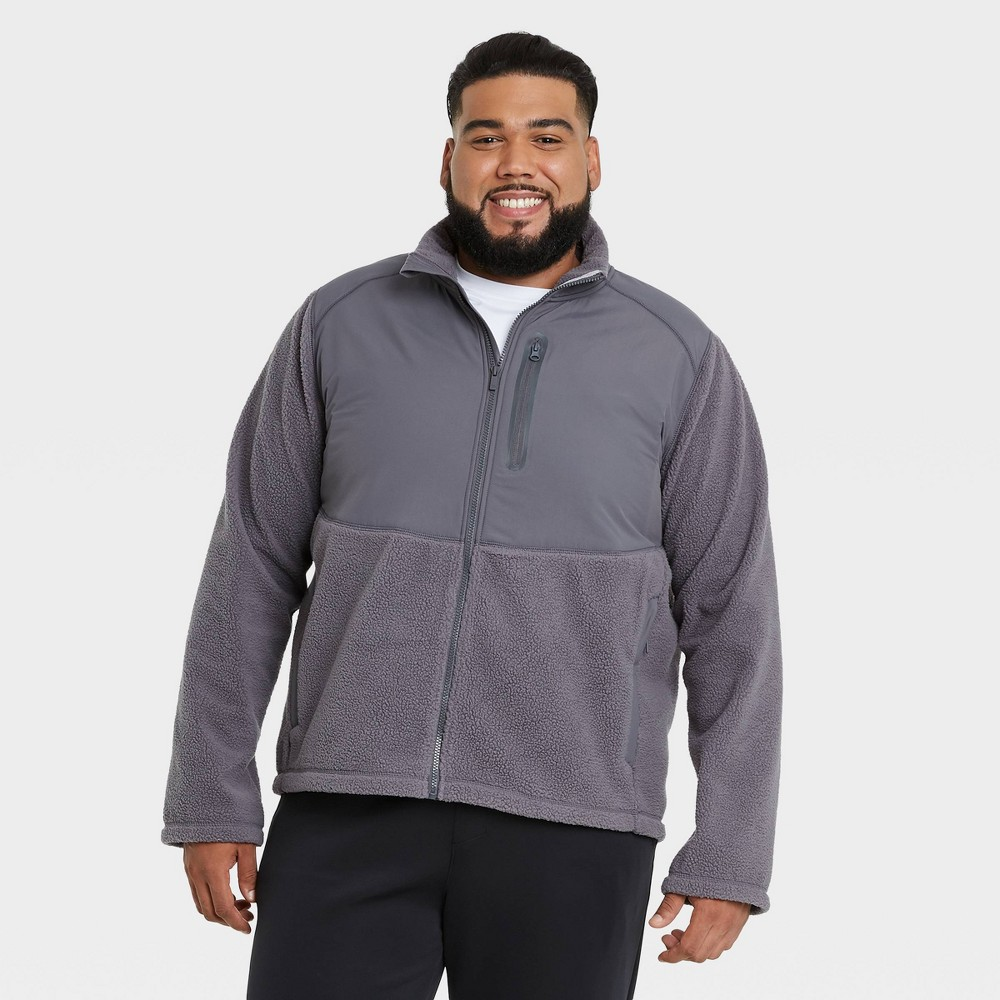 Men 39 S Sherpa Fleece Jacket All In Motion 8482 Gray S