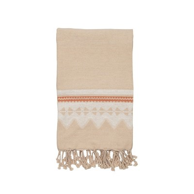 Multicolor Pattern Hand Woven 50 x 60 inch Cotton Throw Blanket with Hand Tied Roped Tassels - Foreside Home & Garden