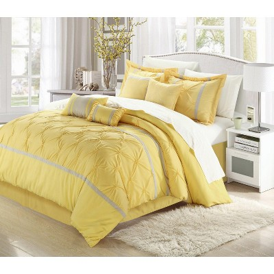 Chic Home Vermont Solid Pleating Oversized Soft Plush Microfiber Embroidered Yellow & Grey Comforter Bed In A Bag Set 8 Piece