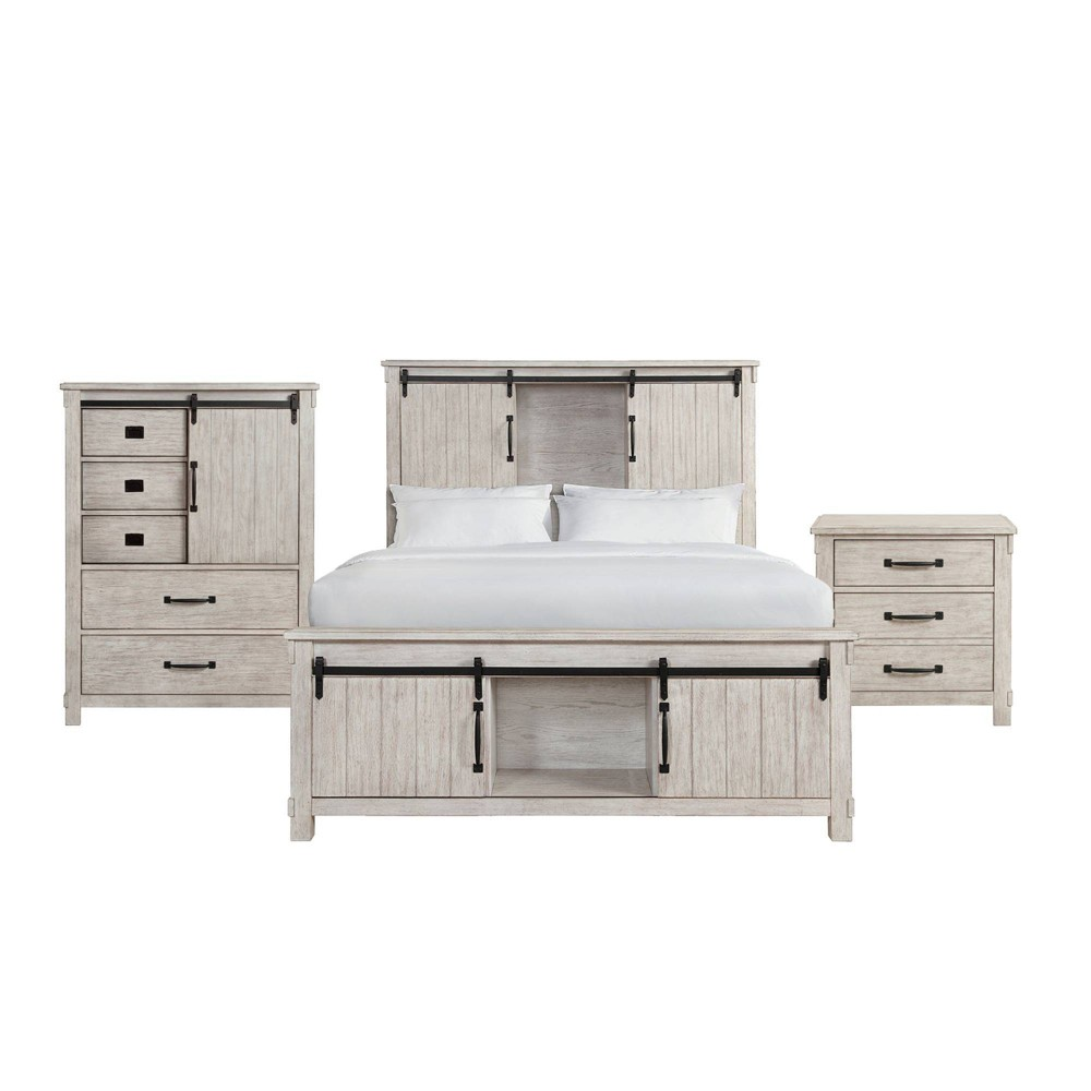 Image of 3pc Queen Jack Platform Storage Bedroom Set Beige - Picket House Furnishings