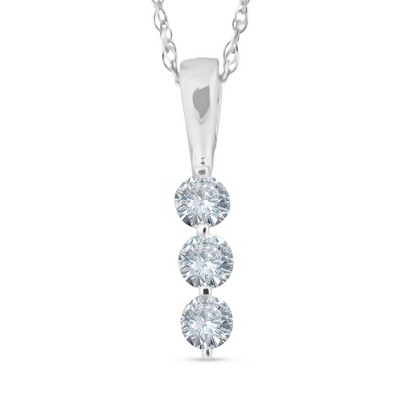 Pompeii3 1/4ct 3 Stone Round Three Diamond Pendant Necklace 14K White Gold