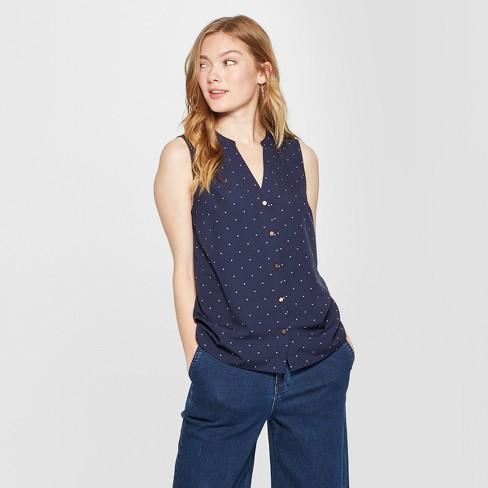 67506cba4a932 Women s Polka Dot Sleeveless Button Front Blouse - A New Day™ Navy   Target