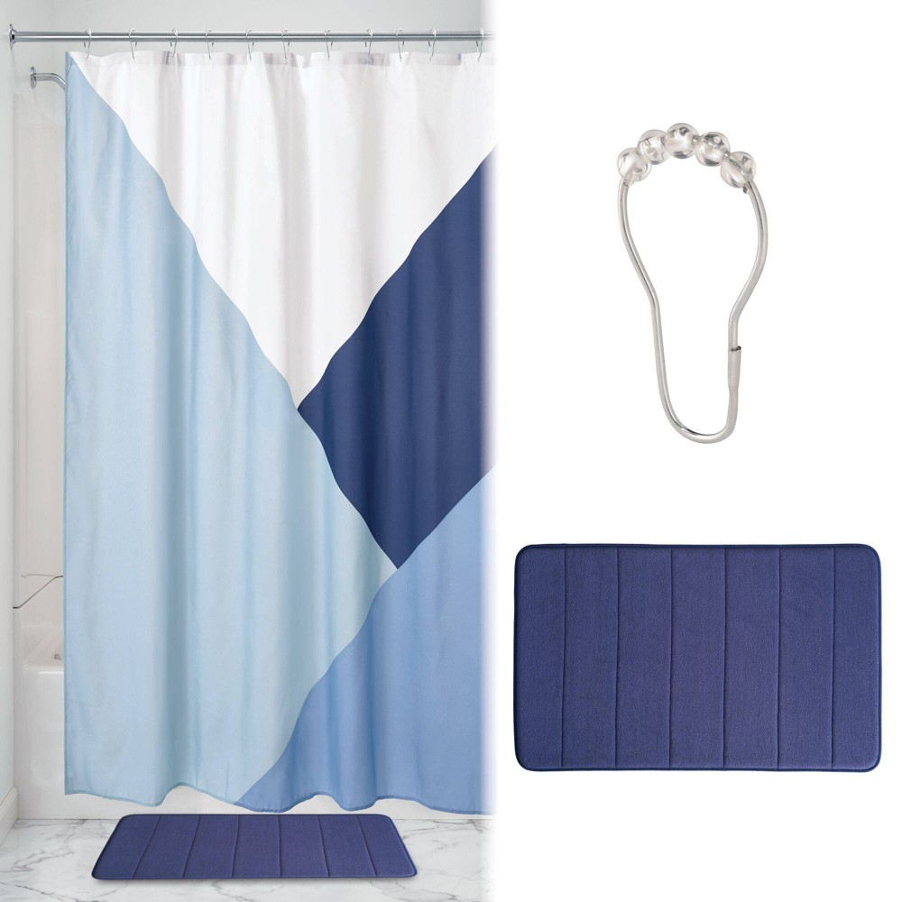 Colorblock Shower Curtain with Memory Foam Mat and Ring Bundle iDESIGN