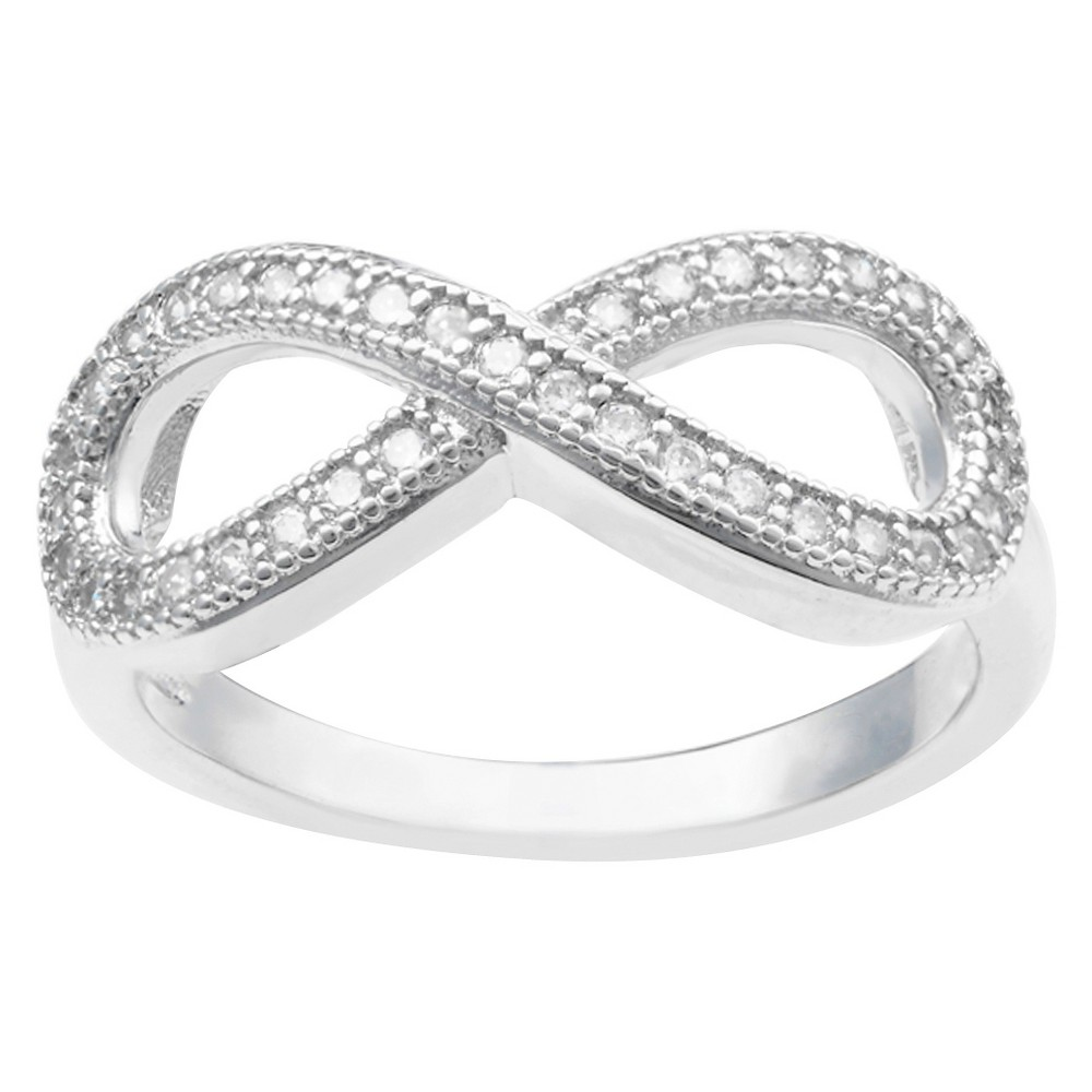 3/8 CT. T.W. Round-Cut CZ Pave Set Infinity Ring in Sterling Silver - Silver, 5, Girl's