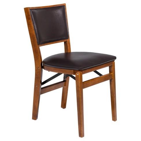 Retro Upholstered Back Folding Chair Set Of 2 Fruitwood Stakmore
