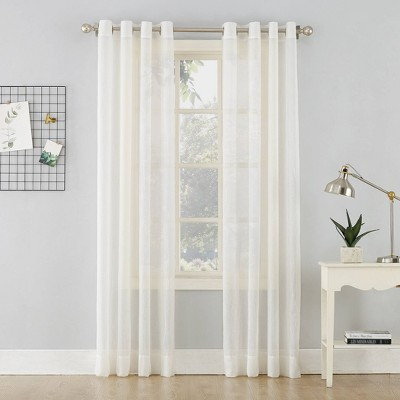 """84""""x51"""" Erica Crushed Sheer Voile Grommet Curtain Panel Off White - No. 918"""
