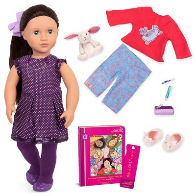 "Our Generation 18"" Posable Sleepover Doll with Storybook & Plush Bunny - Willow"