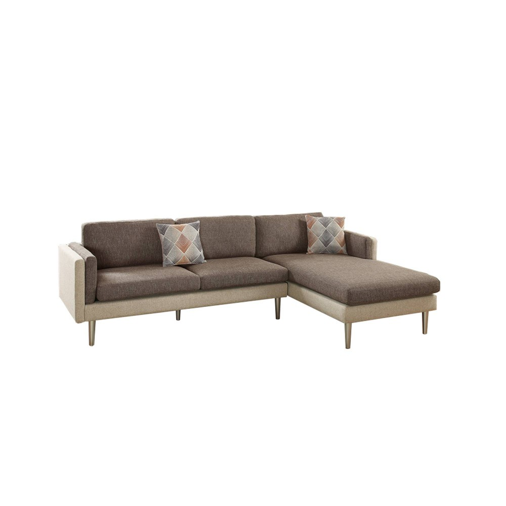 Image of 2pc Plushed Cushion Sectional Set With Accent Pillows Brown - Benzara