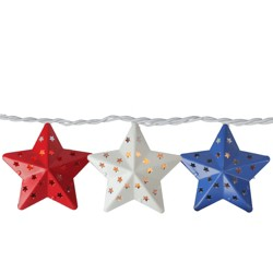 Northlight 10 Red, White and Blue Metal 4th of July Star String Lights - 7.25ft White Wire