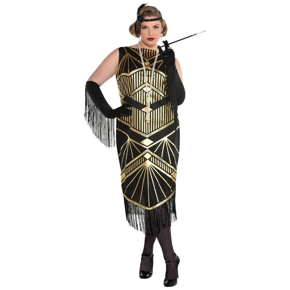 Black Flapper Dresses, 1920s Black Dresses Halloween Adult Roaring 20s Flapper Halloween Costume XXLPlus $44.99 AT vintagedancer.com