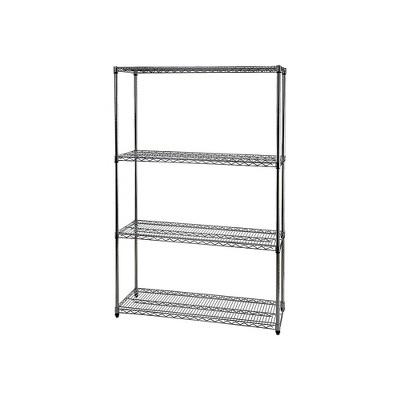 "Staples Wire Shelving 4 Shelves 72"" x 48"" x 18"" Chrome 306977"