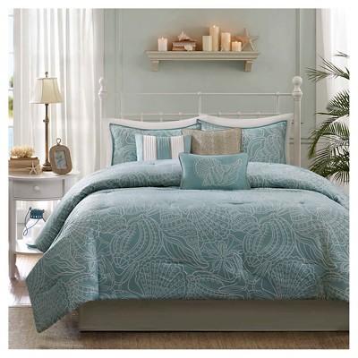 Soledad 7 Piece Comforter Set- Blue (Cal King)