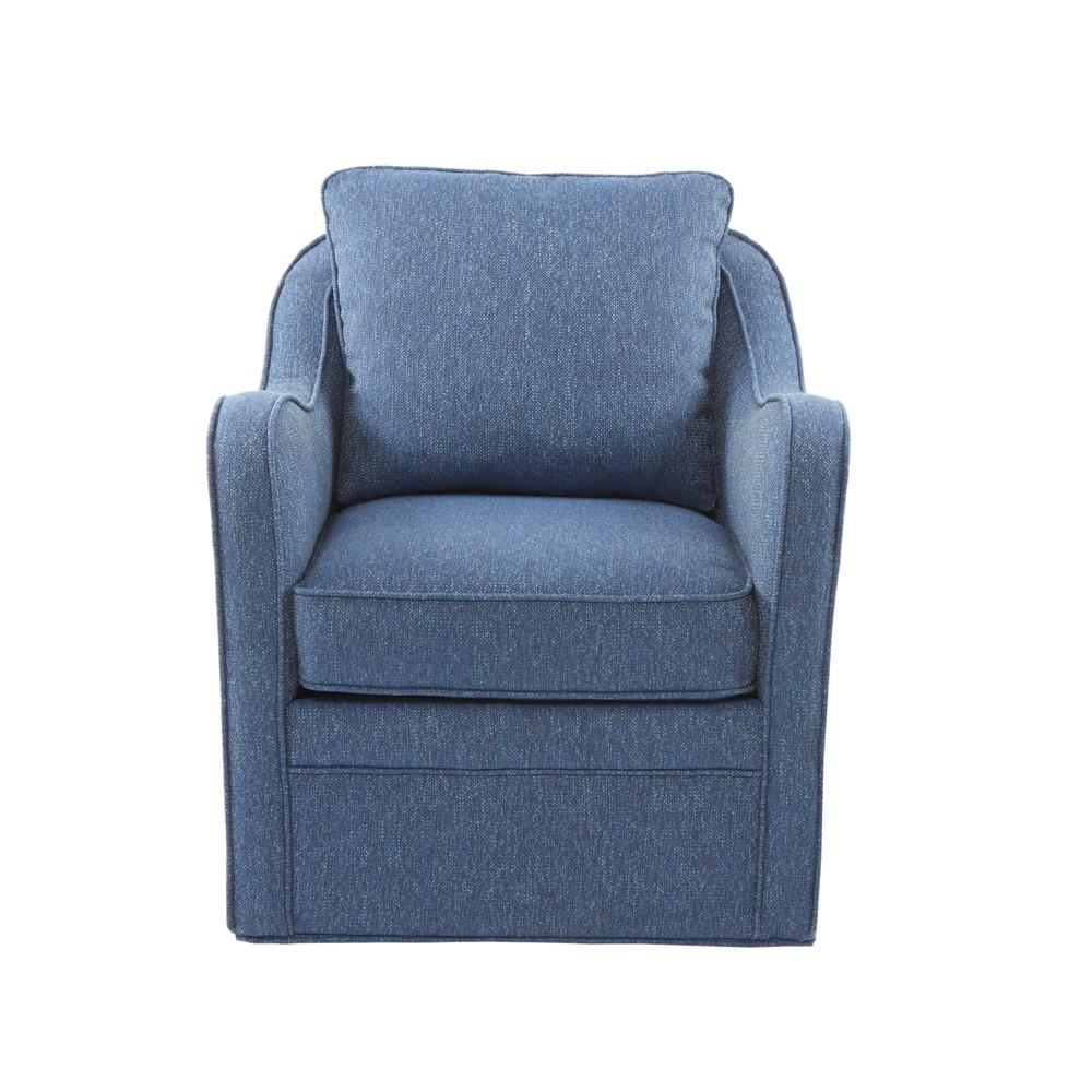 Mitchell Slub Weave Wide Seat Swivel Armchair Navy Cheap