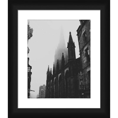 """15"""" x 13"""" Matted to 2"""" Gothic Building Picture Framed Black - PTM Images"""