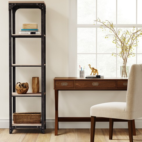 72 Franklin 5 Shelf Narrow Bookcase Gray