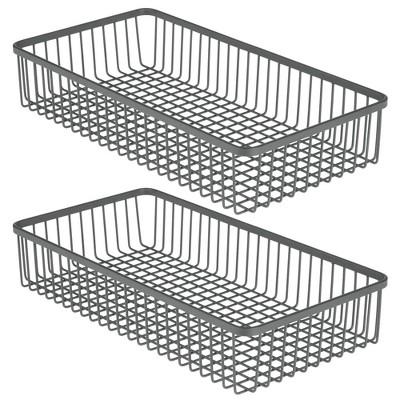 mDesign Metal Kitchen Cabinet Drawer Organizer Tray, 2 Pack