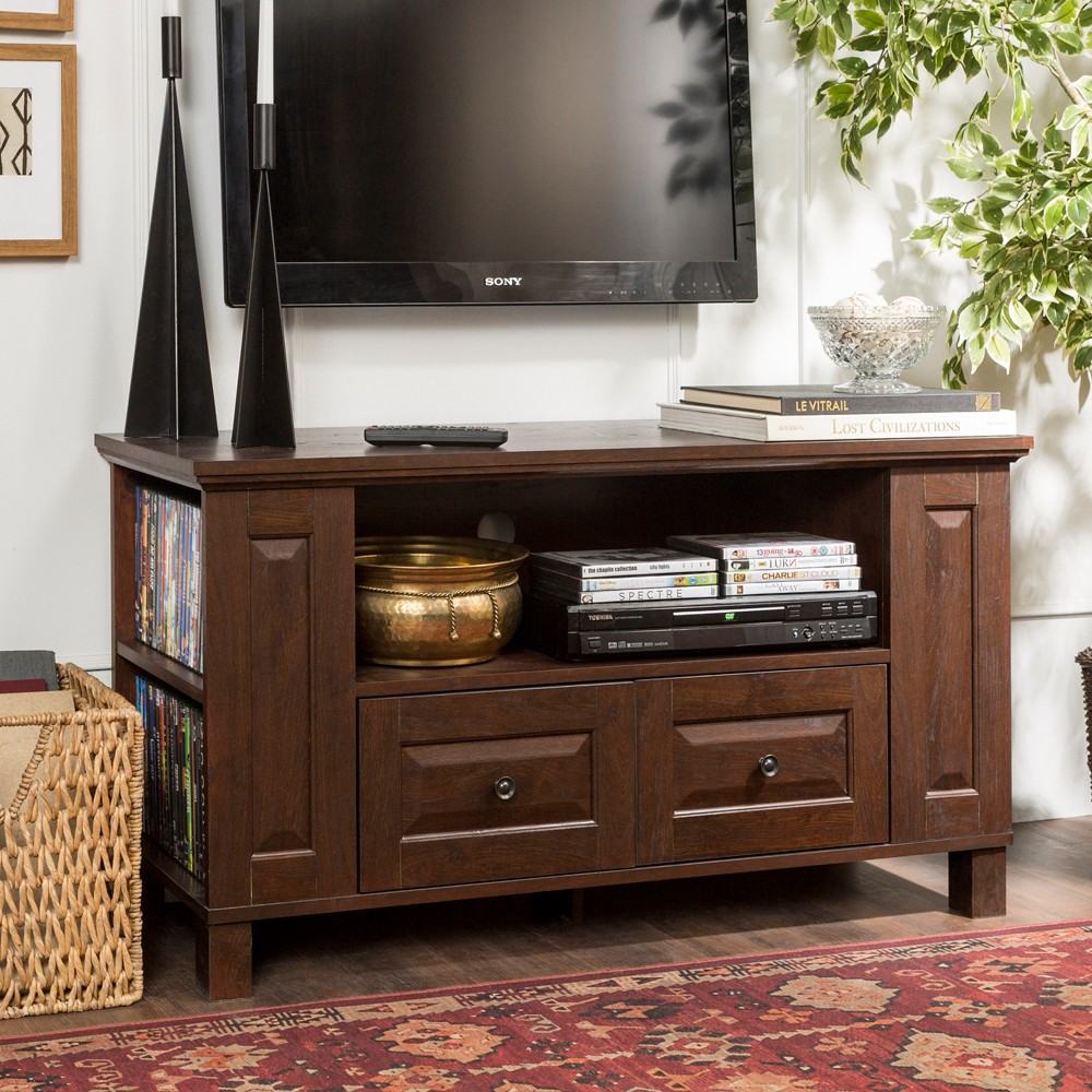 44 Wood TV Media Stand Storage Console - Brown - Saracina Home
