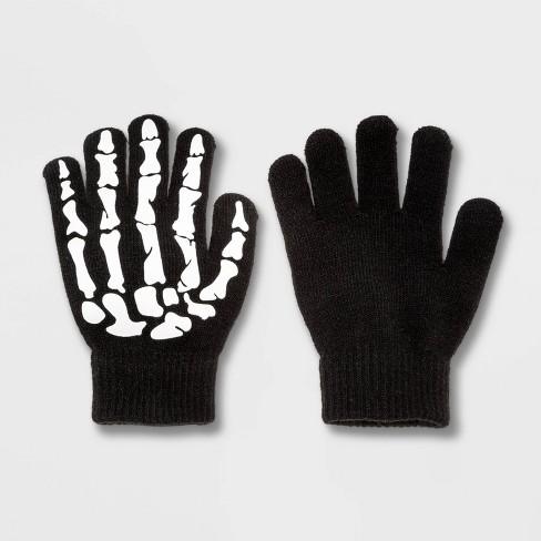 Kids' Glow In The Dark Skeleton Hands Mittens - Cat & Jack™ Black - image 1 of 1
