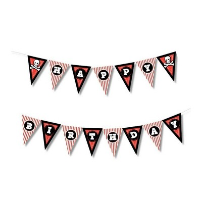 Juvale Pirate Pre-Strung Happy Birthday Banner Wall Pennant Garland Party Decorations Supplies, 10.75 Feet