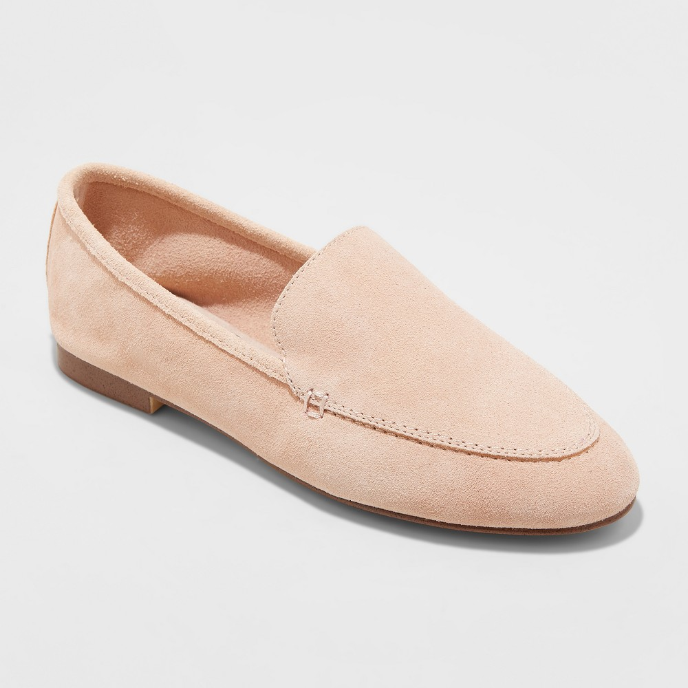 Women's Mila Wide Width Suede Loafers - A New Day Blush 8.5W, Size: 8.5 Wide