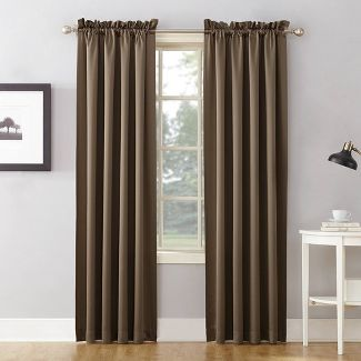 "84""x54"" Seymour Energy Efficient Room Darkening Rod Pocket Curtain Panel Brown - Sun Zero"